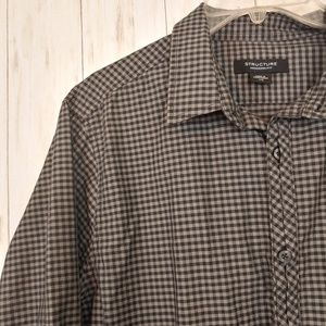 STRUCTURE Gingham Plaid Longsleeve Button Down L